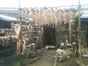 Fish-heads and borns being dried in the sun before being boiled to become mgongo wazi. Photo by Peter Oliver Ochieng