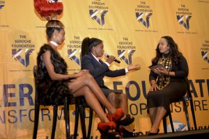 Jayne Awino Okoth( centre) , CEO Rapunzel Hair affair and Posh Hair during an interview at the graduation ceremony.Picture:Courtesy