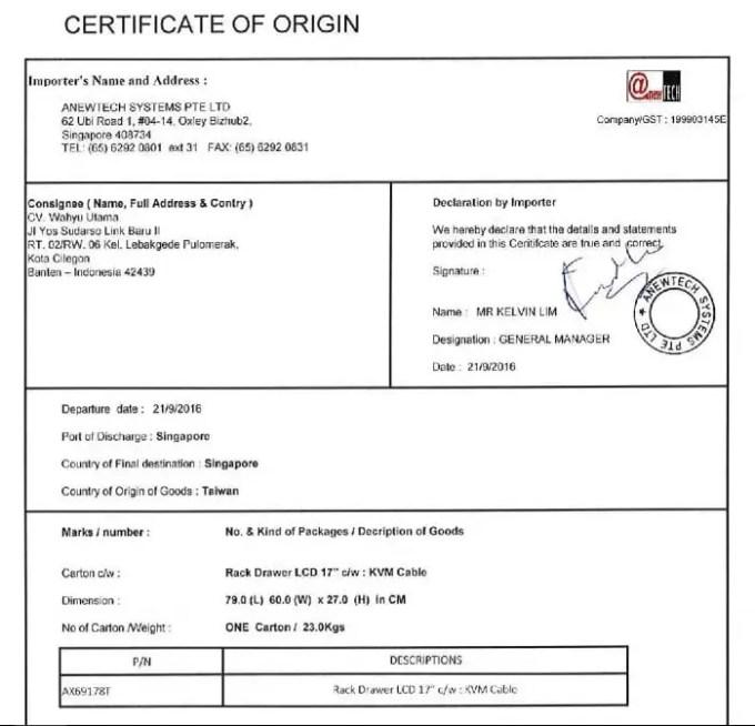 Contoh Certificate of Origin