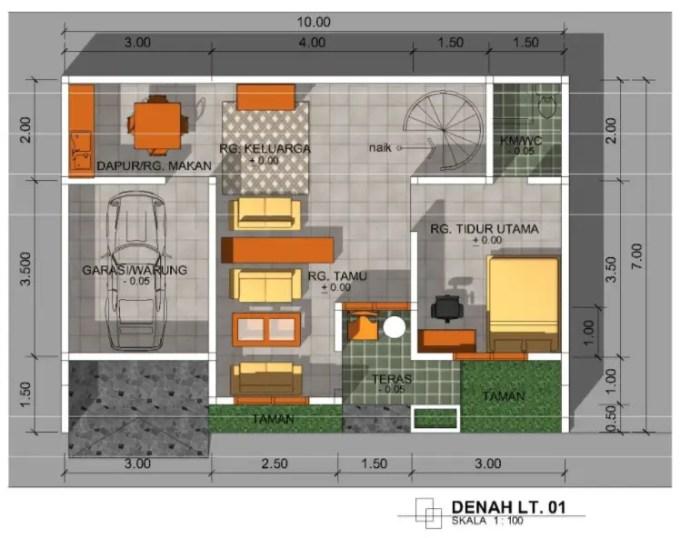 denah rumah minimalis perkotaan