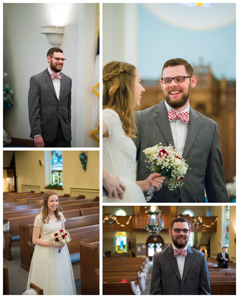 Michael and Lizzy | First Look in a church | rejoicingrebecca.com