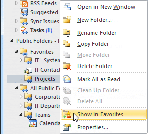 Outlook Favorite Folders Increase Attorney Productivity