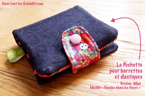 Pochette barrettes fille panda fleurs 7