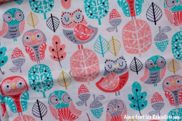 tissu kaufman chouette pastel detail