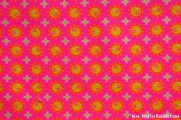 tissu petit pan rose bulles jaune detail