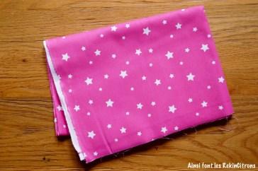 tissu rose etoiles