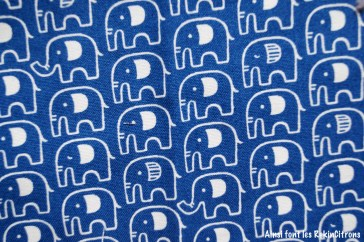 tissu toile kokka bleu elephants detail