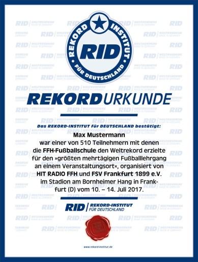 RID-Urkunde-FFH-Fußballschule-Max-Mustermann