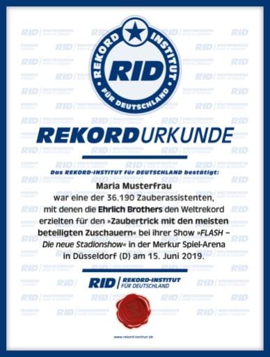 RID-Urkunde-Größter Zaubertrick-Teilnehmer-2019