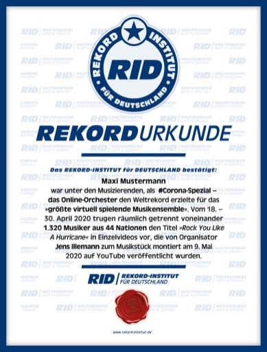 RID-Urkunde-Corona-Orchester-Teilnehmer