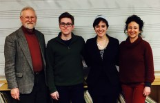 On left and right Relache musician composers Chuck Holdeman and Andrea Clearfield with senior student composers Nicholas Cardelia and Jamie Liedwinger at the Dickinson College residency