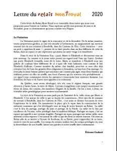 Lettre du Relais Mont-Royal - Carême 2020