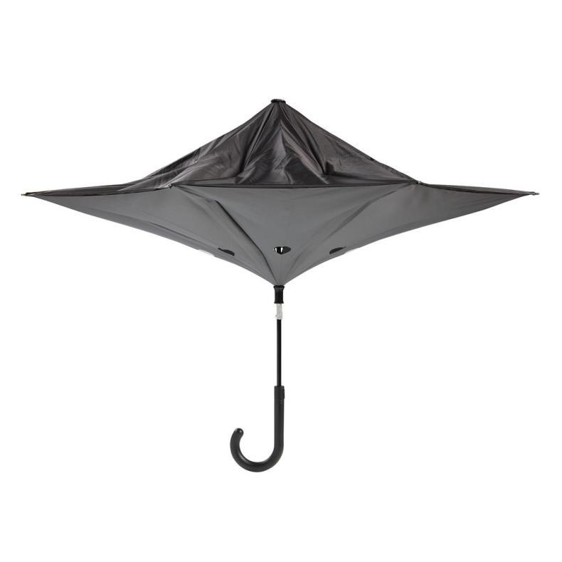 binnenstebuiten paraplu origineel zwart half geopend