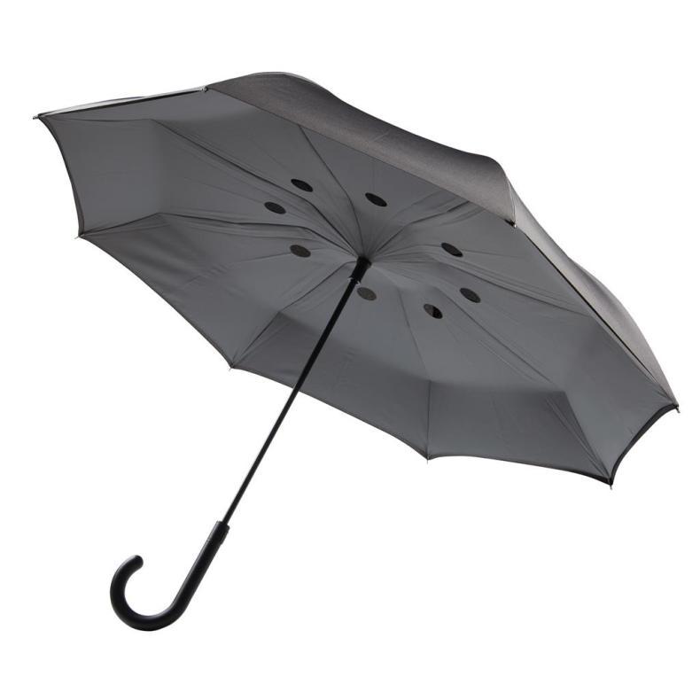 binnenstebuiten paraplu origineel zwart open