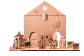 groene kerstpakketten kartonnen kerststal dutch design