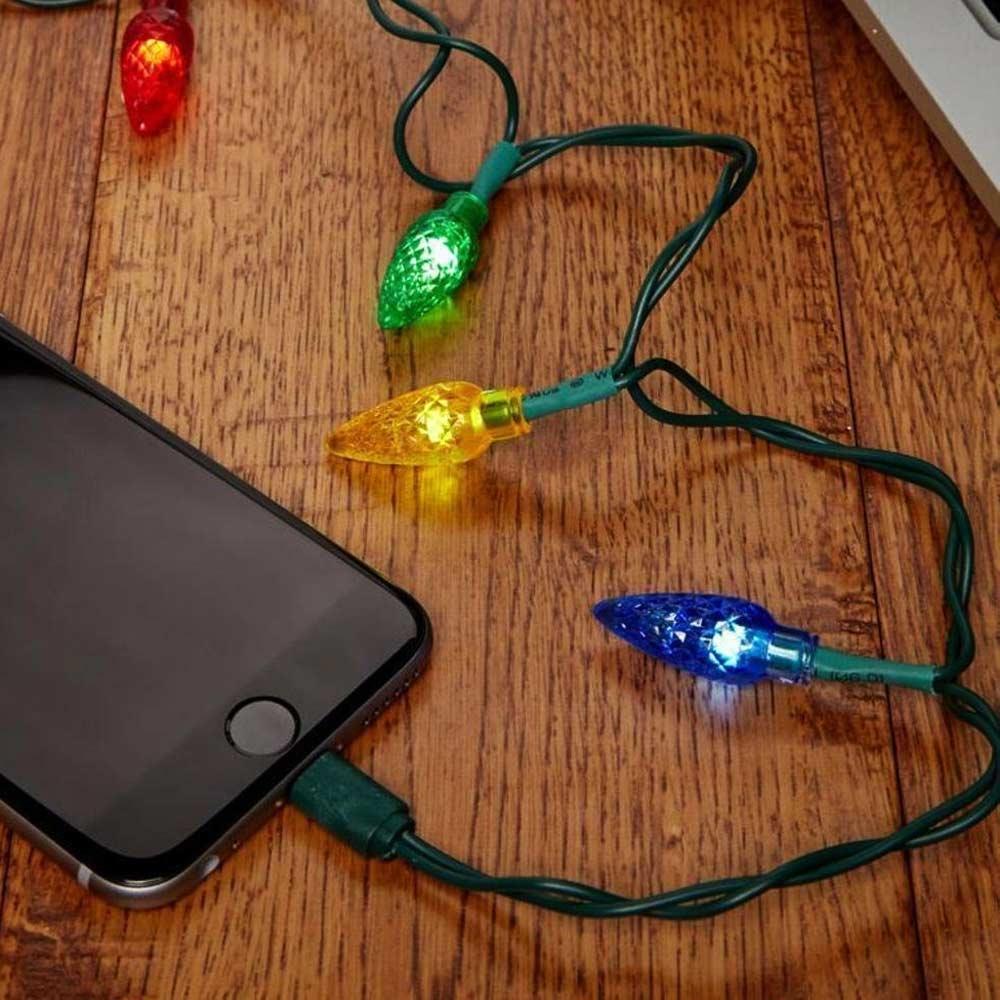 kerstverlichting telefoon lader kabel kerstgeschenk