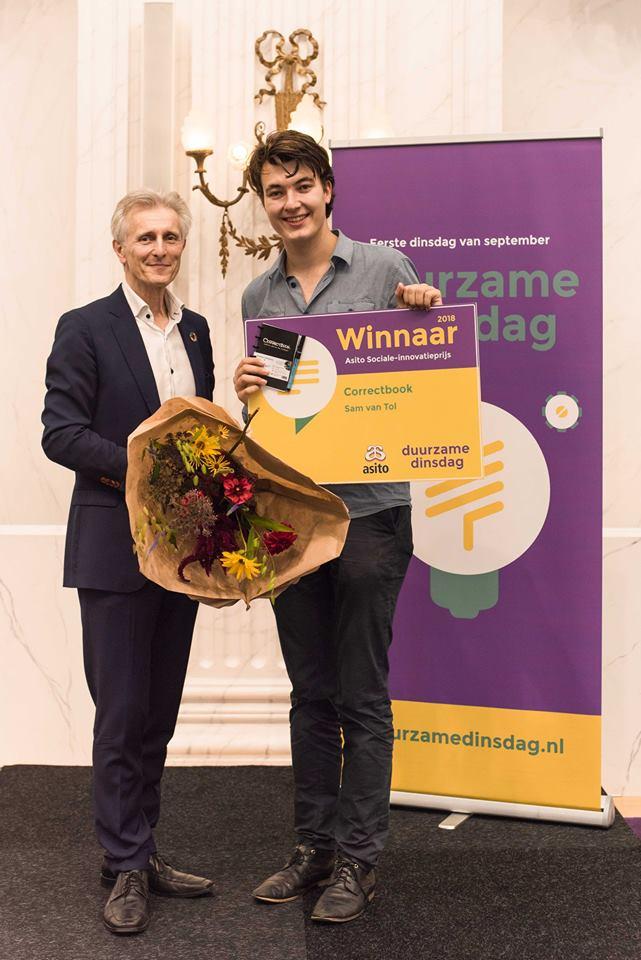 winnaar Asito Sociale innovatieprijs 2018 Correctbook sam van tol