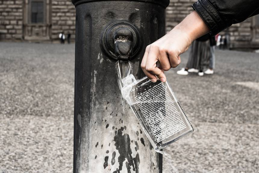 duurzaam waterfles vullen fontein stad phil the bottle