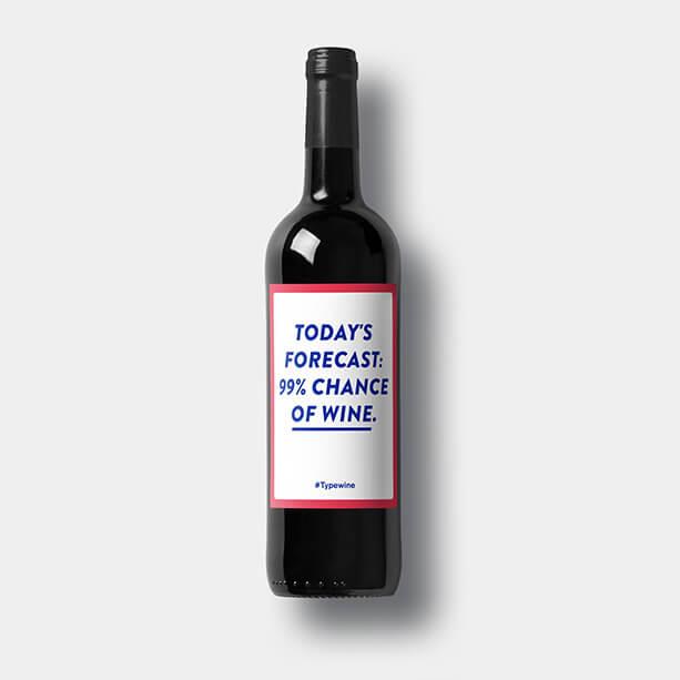 fles wijn eigen etiket relatiegeschenk label tekst todays forecast