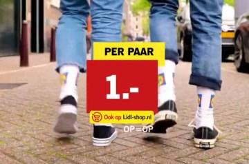 lidl logo sokken aanbieding 1 euro merchandise sportsokken