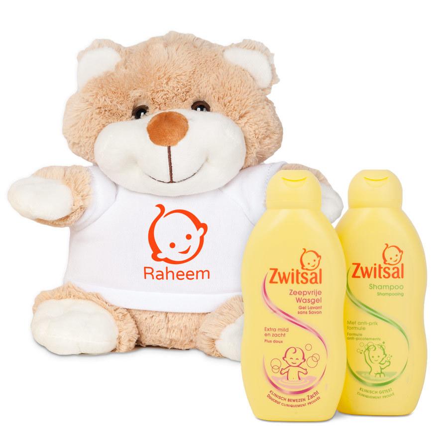 zwitsal baby kraamcadeau teddybeer knuffel met naam op tshirt