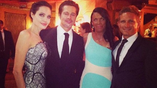 Turia Pitt, Angelina Jolie, Brad Pitt, Turia Pitt and husband Michael Hoskin last night. Picture: Twitter
