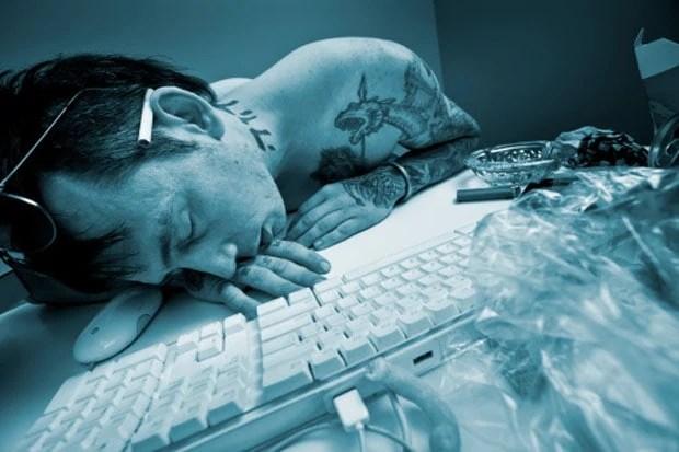 Man sleeping at the computer