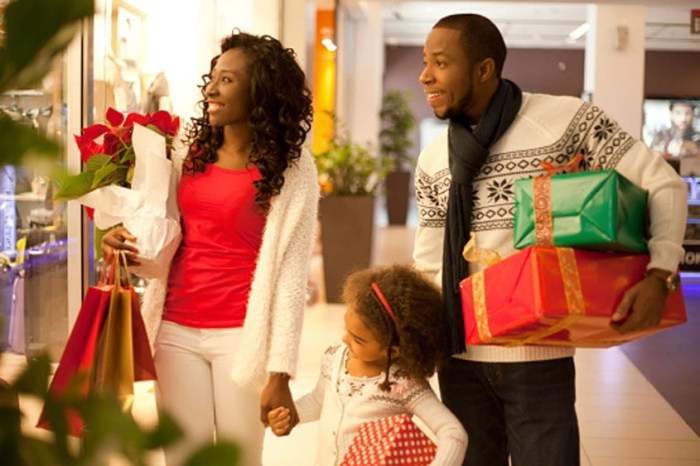 Christmas shopping with family