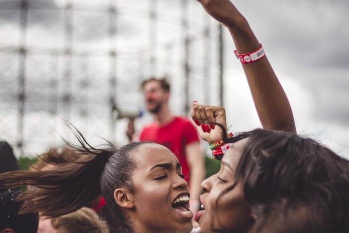 women express their anger through shouting