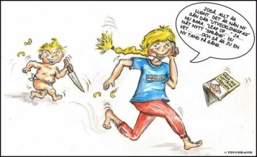Bebis som jagar mamma med kniv. Mamman pratar i telefon och säger: Jorå, det är en sån utvecklingsfas nu...