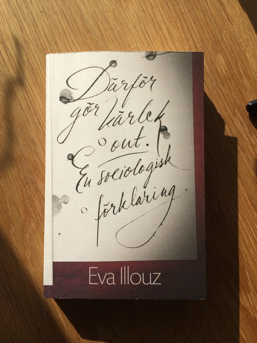 Foto på boken Därför gör kärlek ont. En sociologisk förklaring. Vit bok, snirklig text.