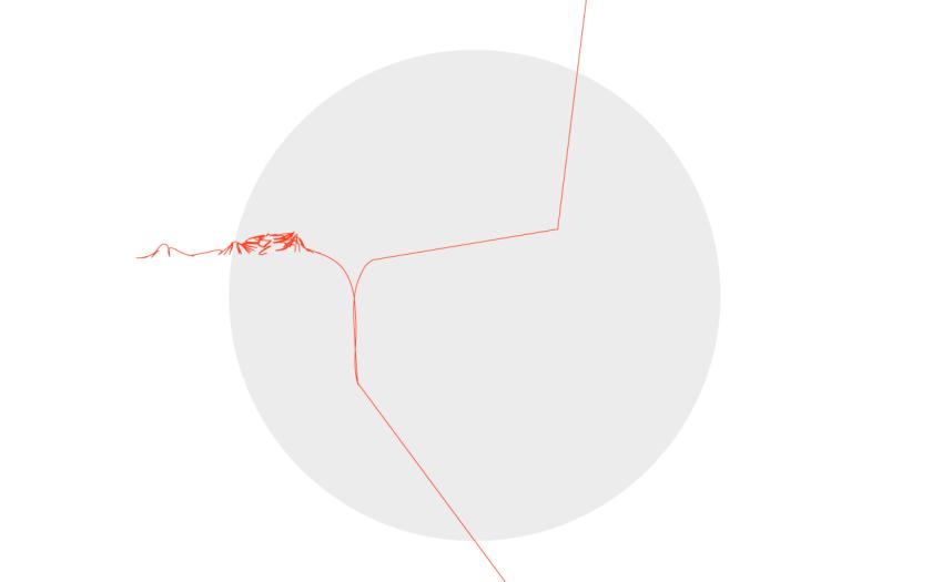 rund grå boll med röd tråd som förgrenar sig