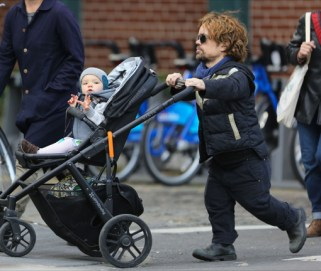 51245831 'Game Of Thrones' actor Peter Dinklage and his wife Erica Schmidt take their daughter Zelig Dinklage out for a walk in New York City, New York on October 28, 2013. FameFlynet, Inc - Beverly Hills, CA, USA - +1 (818) 307-4813