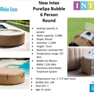 Intex 85in 6 Seater PureSpa Bubble Massage Product Code: 28408BS