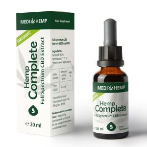 poza cutie si sticla Ulei CBD Organic Complete 5%, 30ml