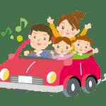 ドライブを楽しむ家族のイラスト