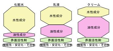 基礎化粧品の構造のイラスト