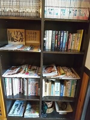 ダンディライオンの雑誌や週刊誌がたくさんある写真