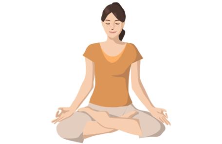 心のトレーニングで座禅をする人のイラスト
