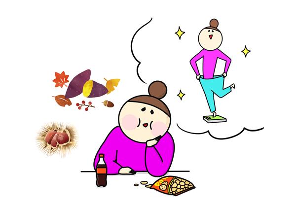 つい食べてしまう人のイラスト
