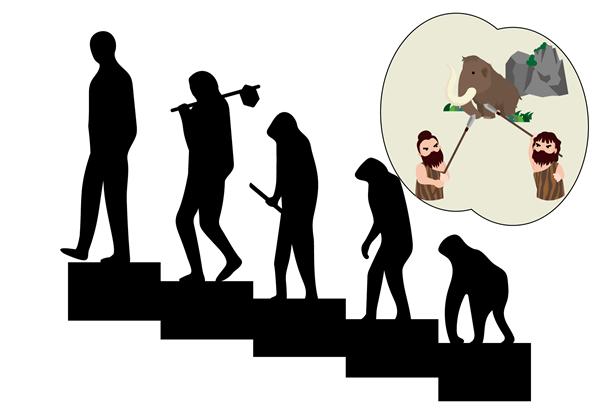 人の進化のイラスト