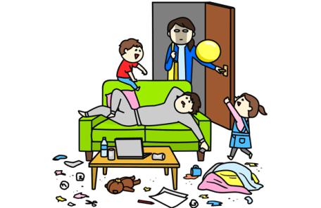 家事育児をしない夫と帰って来た妻のイラスト