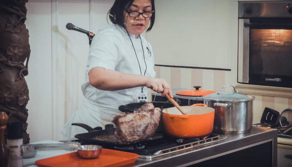 Chef Vicky Pacheco FlatIron dishes -demo.