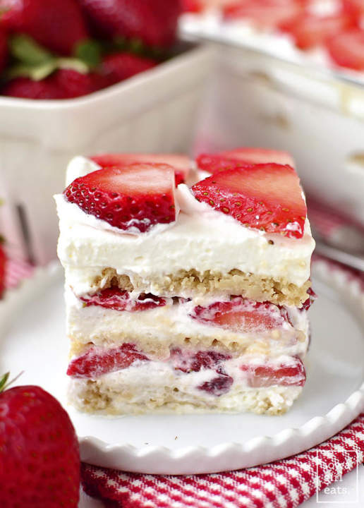 Gluten-Free No-Bake Strawberry Shortcake Icebox Cake by Kristin of IowaGirlEats.com