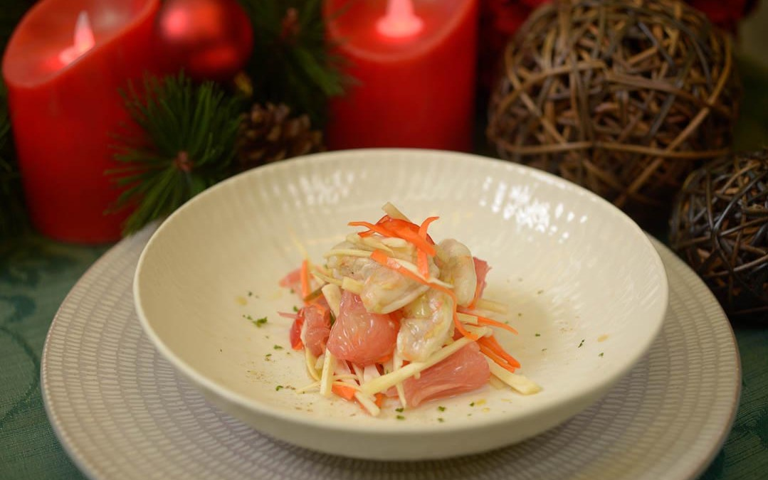 Filipino Salad Recipe -Young Ubod and Pomelos with Shrimp Kinilaw