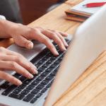 A typist at work