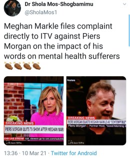 Meghan Markle made formal complaint, Meghan Markle Made Formal Complaint to ITV About Piers Morgans Comments, Relay Vibes