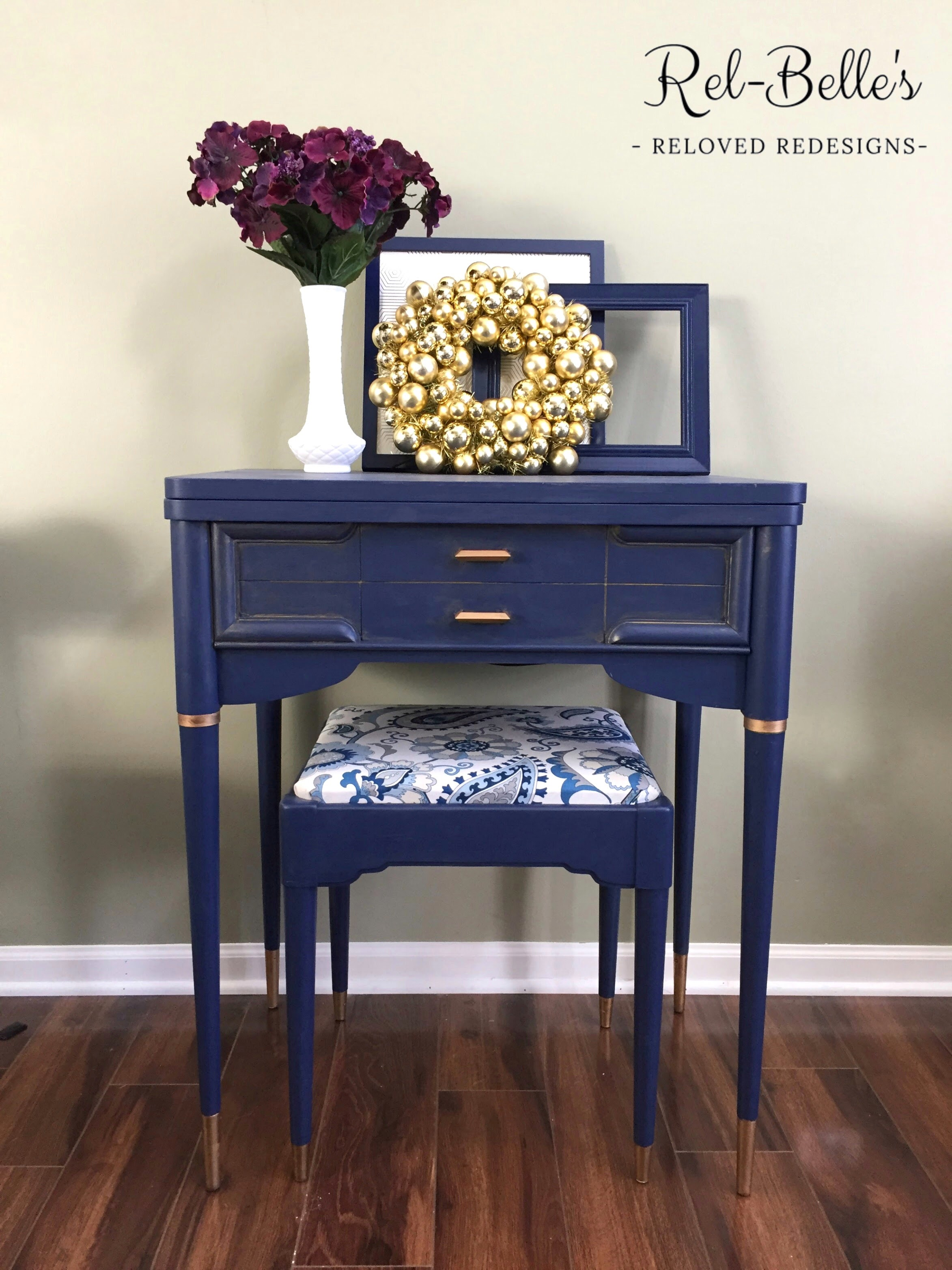 Navy Blue And Gold Sewing Machine Table
