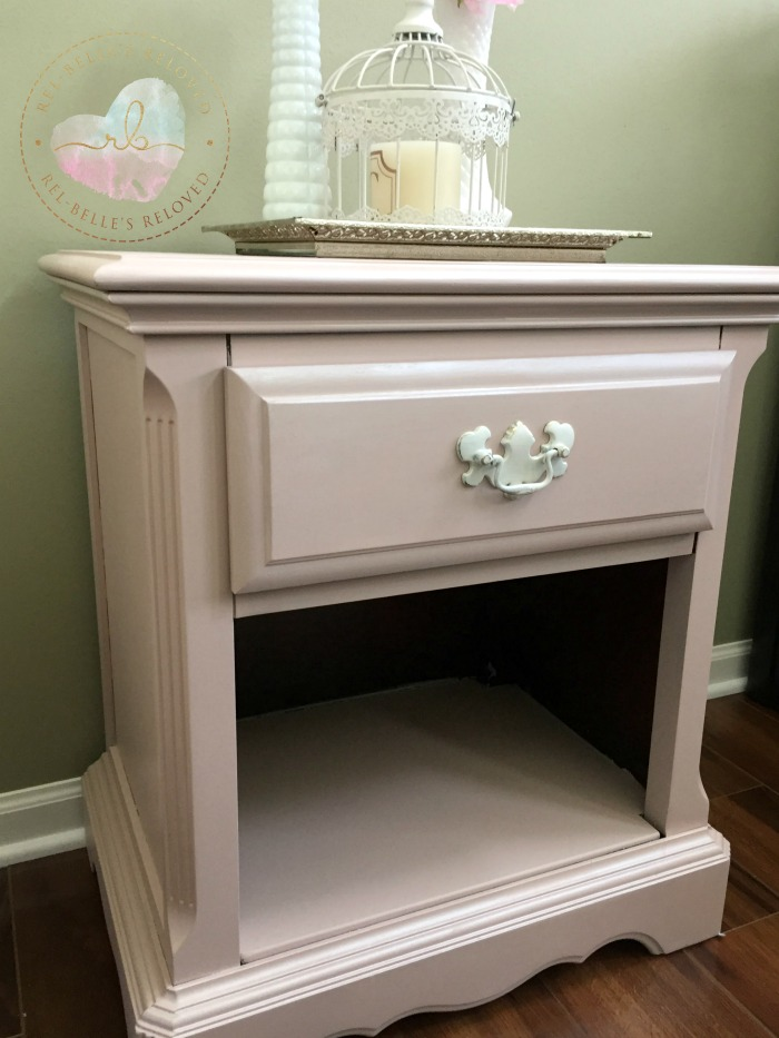 Pink nighstand with pearl metallic glaze