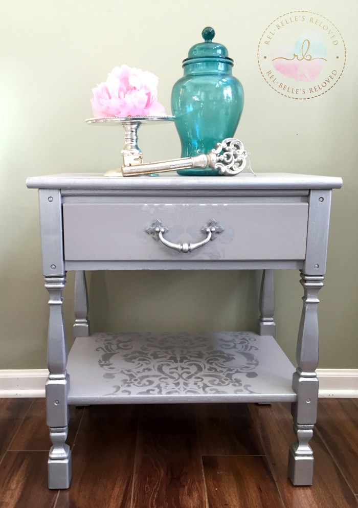 Gray and Silver Metallic Nightstand